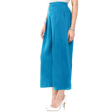 Uptownie Plus Sky Blue  Solid Crepe Palazzo 3 summer sale