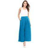 Uptownie Plus Sky Blue  Solid Crepe Palazzo 6 clearance sale