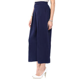 Uptownie Plus Navy Blue Solid Crepe Palazzo 2 summer sale