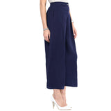 Uptownie Plus Navy Blue Solid Crepe Palazzo 3 summer sale