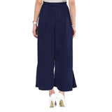 Uptownie Plus Navy Blue Solid Crepe Palazzo 4 trendsale