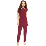 Maroon Neck Cut-out Jumpsuit
