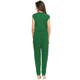 Green Neck Cut-out Jumpsuit