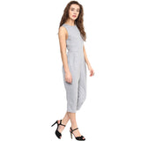 Grey Solid Cropped Jumpsuit