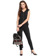 Black Solid Zipper Jumpsuit