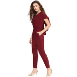Maroon Back Cape Jumpsuit
