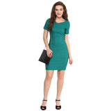 Solid Green Bodycon Dress - Uptownie
