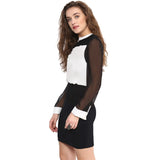 Solid Black & White Bodycon Dress - Uptownie