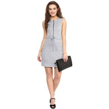 Solid Grey Cotton Dress - Uptownie