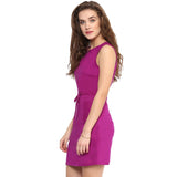 Solid Purple Cotton Dress - Uptownie