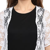 Black & White Lace Shrug Jumpsuit