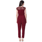 Solid Maroon Polka Sleeves Jumpsuit