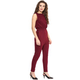 Maroon Solid Sleeveless Jumpsuit