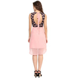 Pink Black Lace Hi-Low Back Cut-Out Dress - Uptownie