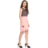 Pink Black Lace Hi-Low Dress - Uptownie