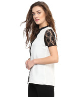 Solid White Lace Sleeves Button Down Shirt
