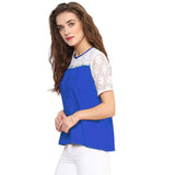 Solid Blue & White Lace Crepe Top. BUY 1 GET 3