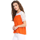 Solid Orange & White Lace Top. EXTRA 18% OFF