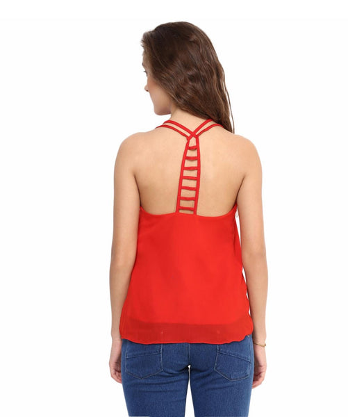 Solid Red Back Cutout Top