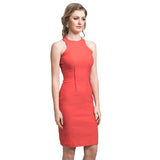 Solid Orange Bodycon Dress - Uptownie