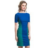 Solid Blue & Green Bodycon Stretchable Cotton Dress - Uptownie