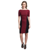 Solid Wine Bodycon Stretchable Cotton Dress - Uptownie