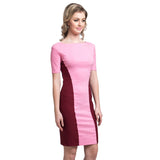 Solid Pink Bodycon Stretchable Cotton Dress - Uptownie