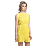 Solid Yellow Pleated Dress - Uptownie