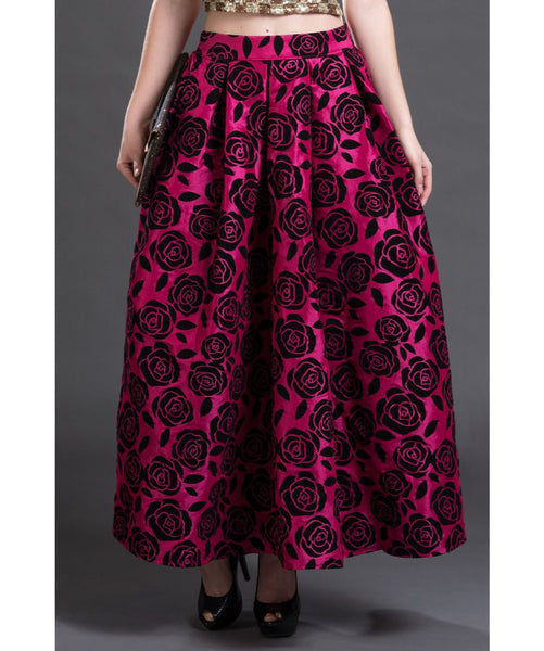 Printed Maroon Long Skirt