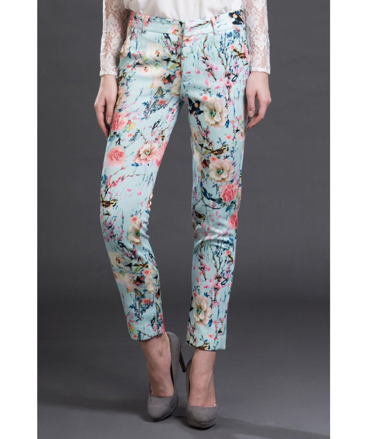 Printed Blue Casual Pants