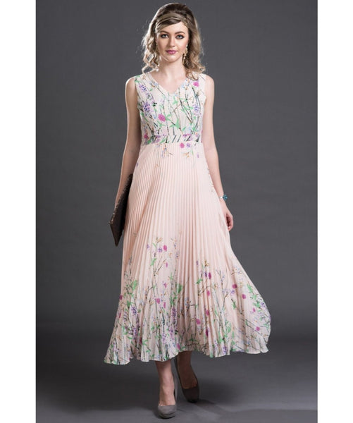 Printed Pink Pleated Maxi Dress