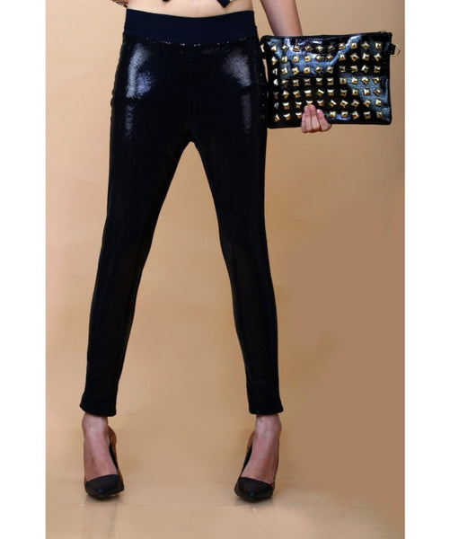 Solid Black Shiny Sequin Leggings