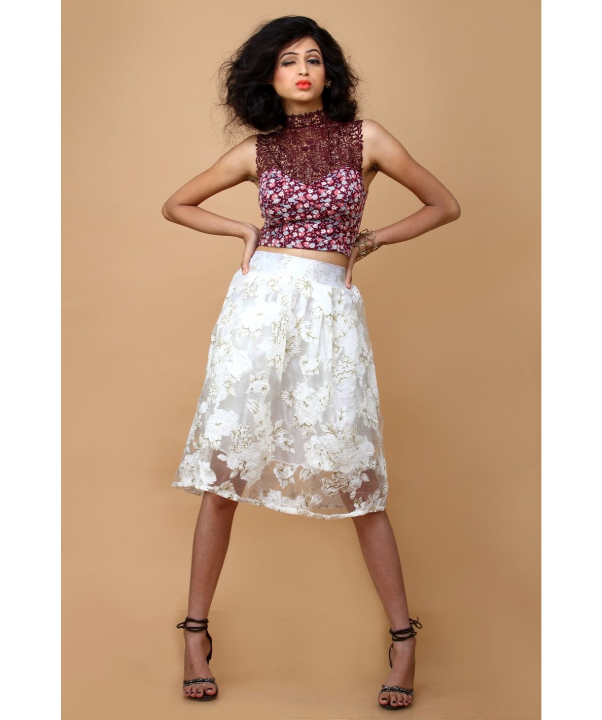 Solid White Flared Skirt