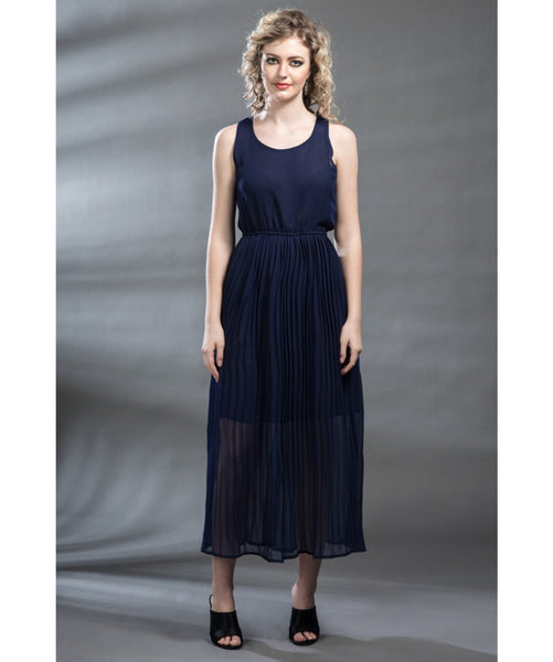 Solid Navy Blue Maxi Dress