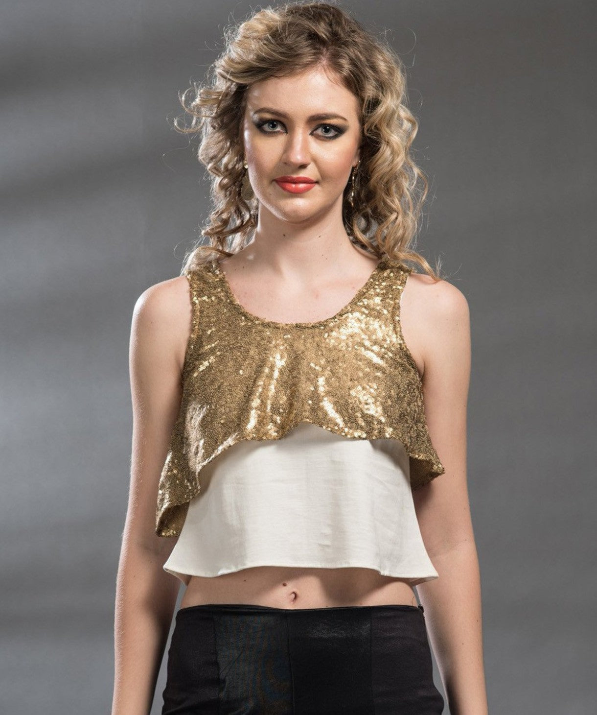 Uptownie X Pearl-Solid Gold Sequins Top. EXTRA 18% OFF