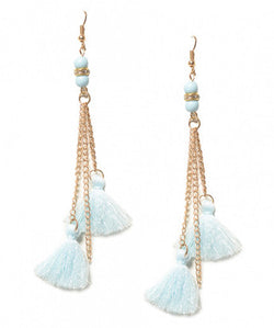 Blue Carnival Tassel Earrings