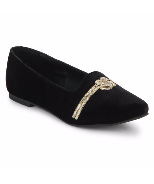Uptownie X Bootico-Black Love Knot Zardosi Loafers