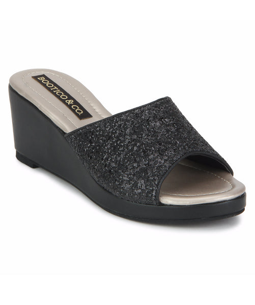 Uptownie X Bootico-Black Glitter Wedges - Uptownie