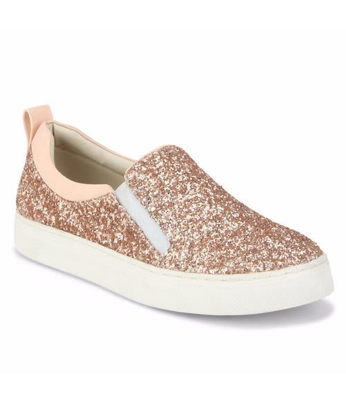 Uptownie X Bootico-Rose Gold Curve Glitter Sneakers