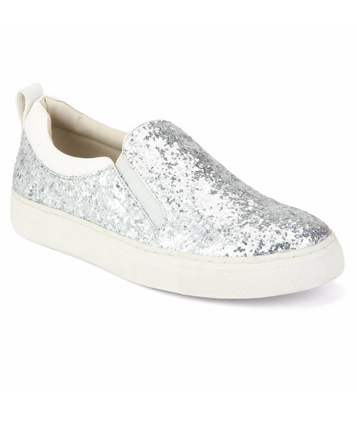 Uptownie X Bootico-Silver Curve Glitter Sneakers