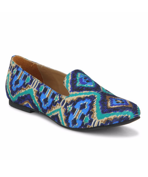 Uptownie X Bootico-Blue Classic Ikat Slip ons