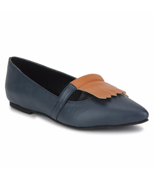 Uptownie X Bootico-Navy With Mango Tan Fringe Ballerinas