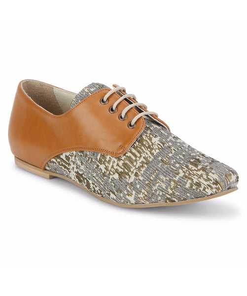 Uptownie X Bootico-Printed Fabric Tan Brogues