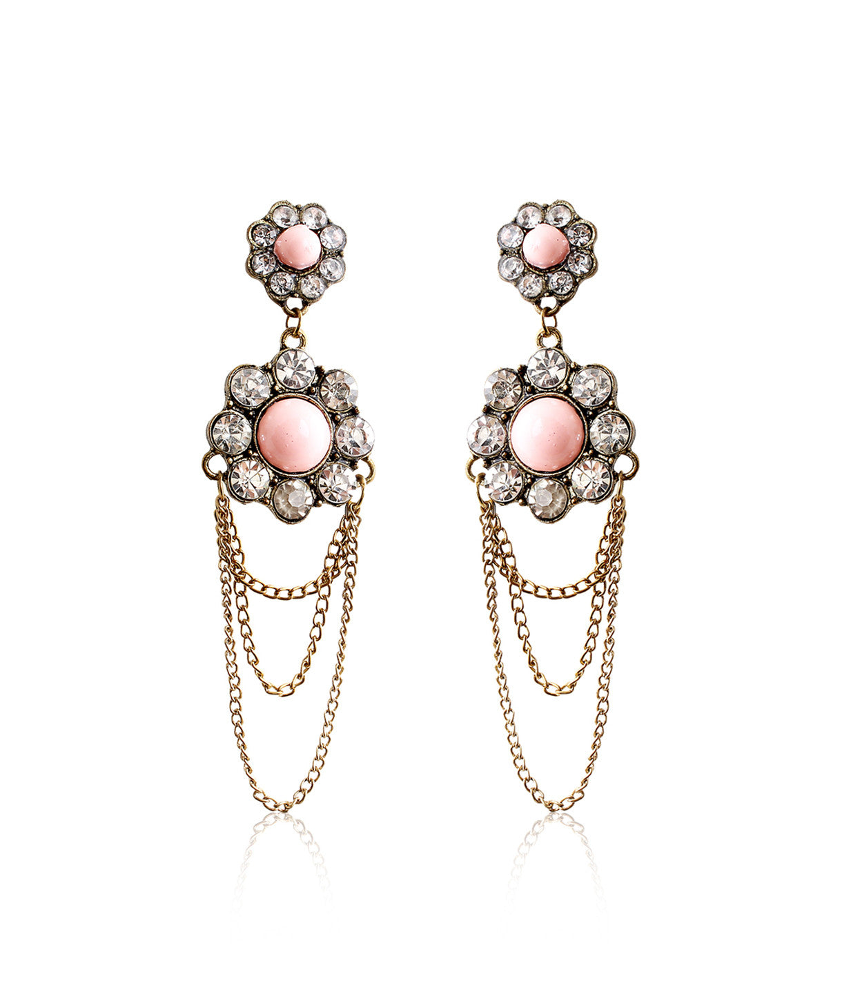 Uptownie X Infuzze-Silver Toned Floral Stone-Studded Drop Earrings - Uptownie