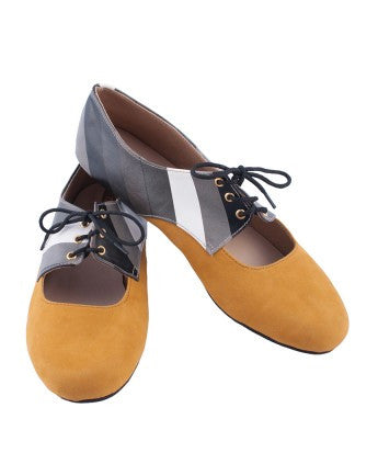 Uptownie X Marlschuz-Striped Mustard Brogues - Uptownie