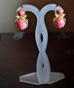Pressed coral earclips with pearls