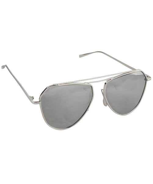Sleek Cut Sunglasses- Silver - Uptownie