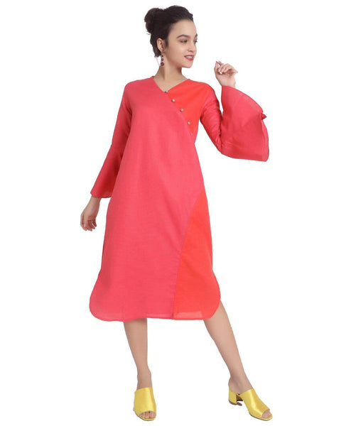 Uptownie Dual Color Bell Sleeve Kurti Dress