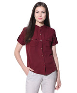Uptownie Plus Maroon Solid Button Down Crepe Shirt 1 summer sale