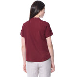 Uptownie Plus Maroon Solid Button Down Crepe Shirt 2 summer sale